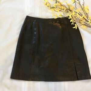 Cache Genuine Leather Mini Skirt